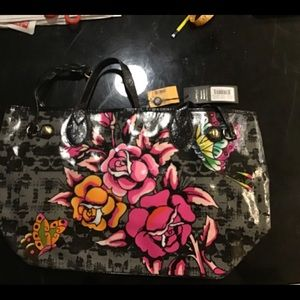 Ed Hardy NWT  Large Tote 13x22..Patent Leather